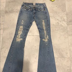 True religion size 25 distressed leg jeans flare